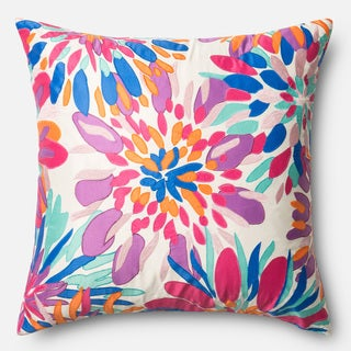 Printed Floral Pink Multi Feather and Down Filled or Polyester Filled 22-inch Throw Pillow or Pillow Cover