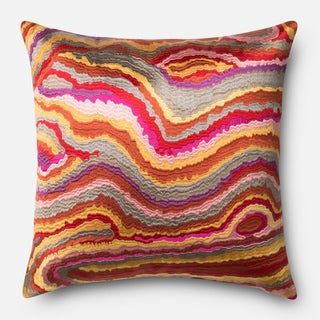 Embroidered Pink Multi Modern Abstract Feather and Down Filled or Polyester Filled 18-inch Throw Pillow or Pillow Cover