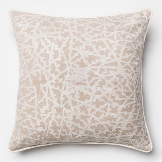 Embroidered Cotton Beige/ White Coral Feather and Down Filled or Polyester Filled 22-inch Throw Pillow or Pillow Cover