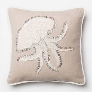 Button Applique Beige Jellyfish Feather and Down Filled or Polyester Filled 18-inch Throw Pillow or Pillow Cover