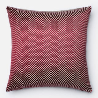 Embroidered Cotton Chambray Chevron Feather and Down Filled or Polyester Filled 22-inch Throw Pillow or Pillow Cover