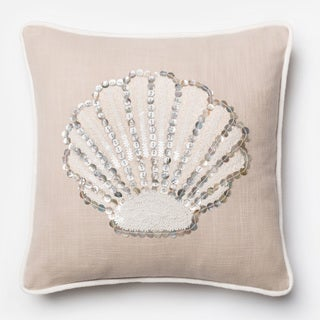 Button Applique Beige Seashell Feather and Down Filled or Polyester Filled 18-inch Throw Pillow or Pillow Cover