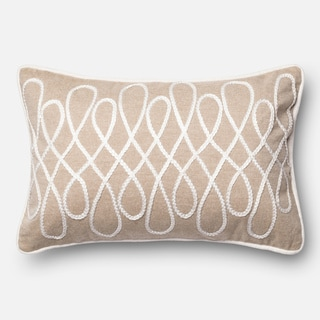 Hand-sewn Cotton Chambray Beige/ White Feather and Down Filled or Polyester Filled 13 x 21 Throw Pillow or Pillow Cover