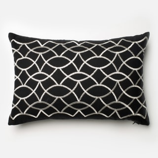 Embroidered Cotton Black/ White Modern Moroccan Feather and Down Filled or Polyester Filled 13 x 21 Throw Pillow or Pillow Cover