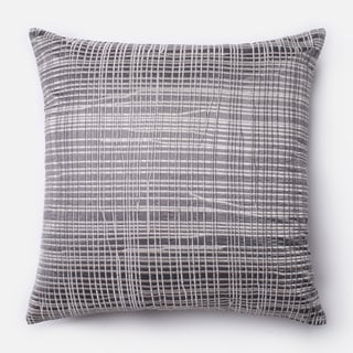Embroidered Abstract Grey/ Silver Feather and Down Filled or Polyester Filled 18-inch Throw Pillow or Pillow Cover