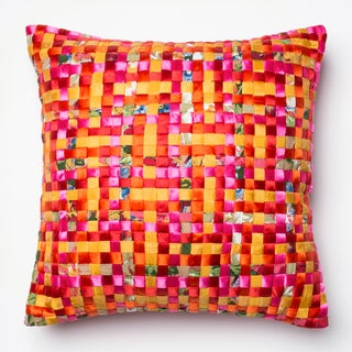 Basket Weave Pink/ Orange Feather and Down Filled or Polyester Filled 18-inch Throw Pillow or Pillow Cover