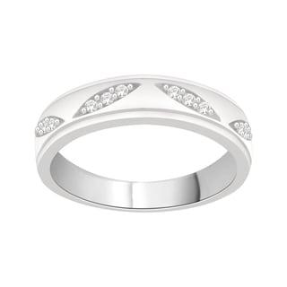 Trillion Designs Sterling Silver 1/8ct TDW Natural Diamond Cluster Wedding Band (H-I, I2)