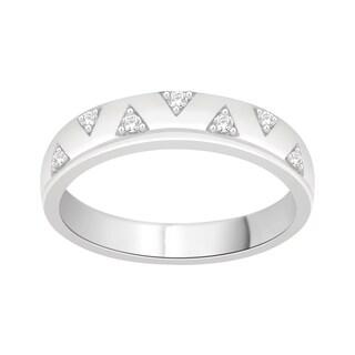 Trillion Designs Sterling Silver 1/10ct TDW Natural Diamond Cluster Wedding Band (H-I, I1-I2)