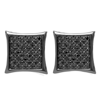 10k Black Gold 1/4ct TW Black Diamond Kite Shape Hip Hop Micro Pave Stud Earrings
