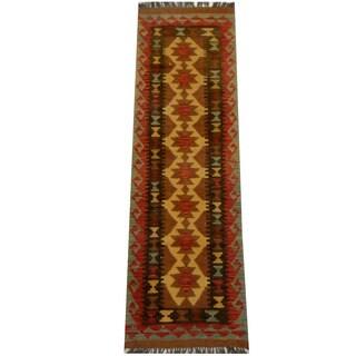 Herat Oriental Afghan Hand-woven Vegetable Dye Wool Kilim Runner (1'10 x 6'3)