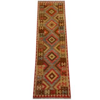 Herat Oriental Afghan Hand-woven Vegetable Dye Wool Kilim Runner (2'6 x 8'4)