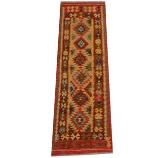 Herat Oriental Afghan Hand-woven Vegetable Dye Wool Kilim Runner (2'6 x 8')