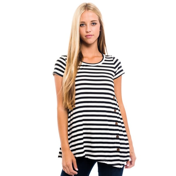 Women's Black Striped Short-sleeve Tunic Top