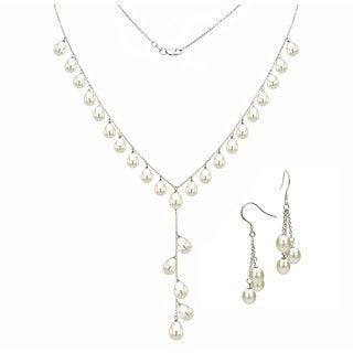 """DaVonna Sterling Silver Cable Chains with 6-8.5mm Rice Shaped Freshwater Pearls Necklace and Hoop Earrings set 18"""""""