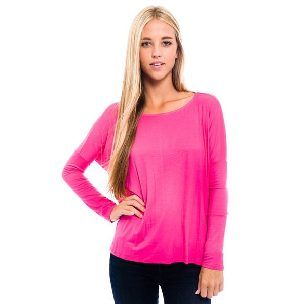 Women's Pink Knit long-sleeve Tunic Top