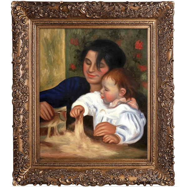 Pierre-Auguste Renoir 'Gabrielle and Jean' Hand Painted Framed Canvas Art 19978764