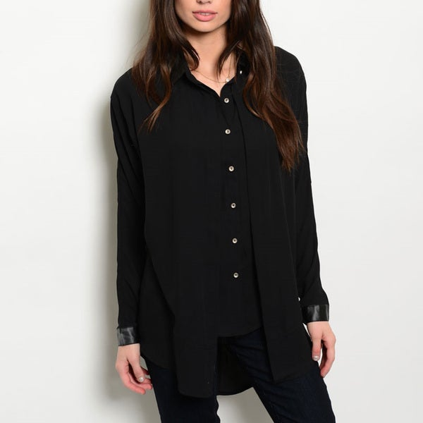 JED Women's Polyester Layer-effect Long-sleeved Button-down Shirt