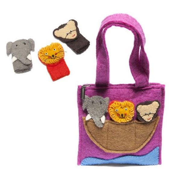Felted Wool Kid's Animals Puppet Bag (Nepal)