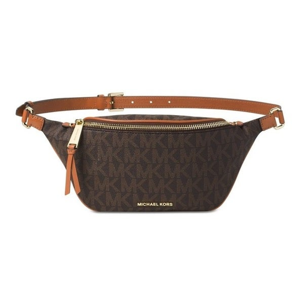 Michael Kors Small Rhea Brown Zip Signature Belt Bag