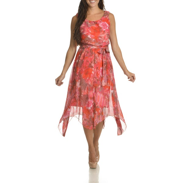 Danillo Boutique Women's Pink Floral-print Uneven-hem Dress