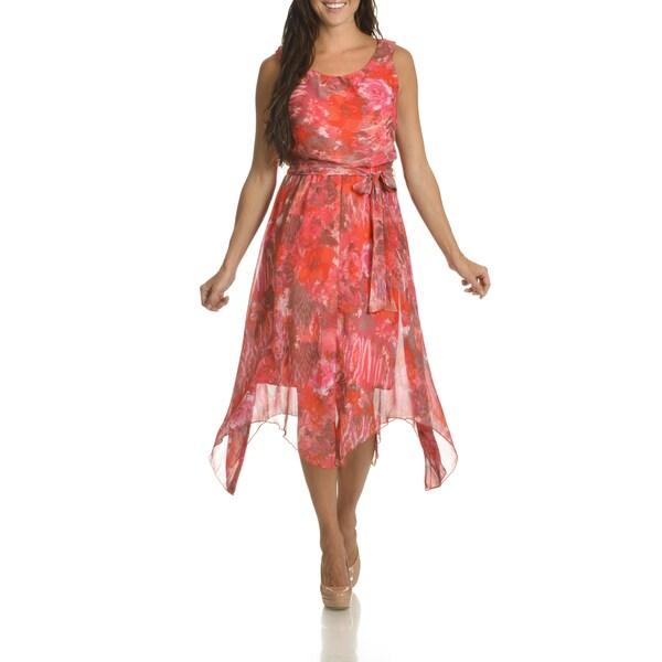Danillo Boutique Women's Pink Floral-print Uneven-hem Dress
