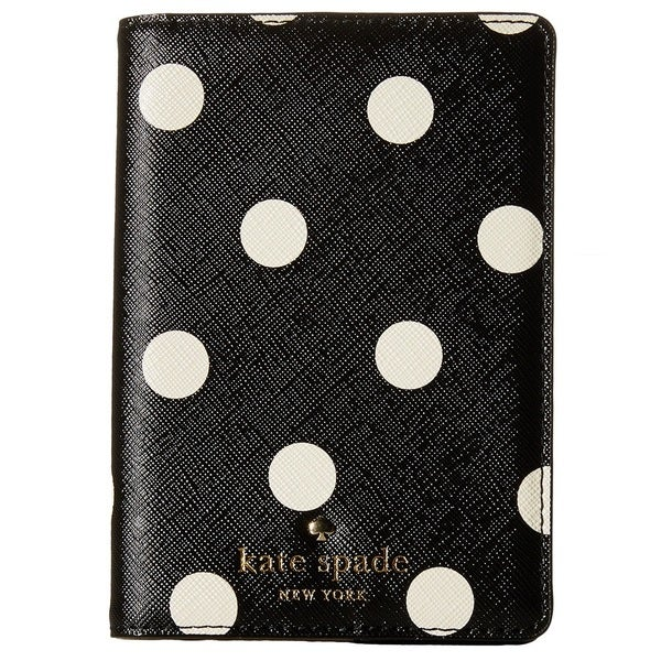Kate Spade Cedar Street Black/Cream Dot Passport Holder