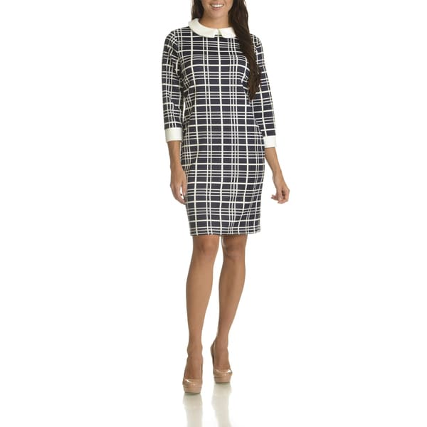 Danillo Boutique Women's Plaid Polyester Shift Dress