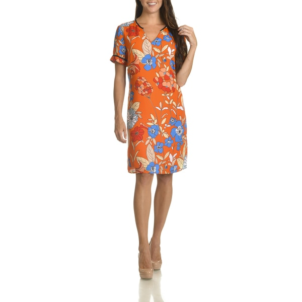 Danillo Boutique Women's Floral Print Knee-length Shift Dress