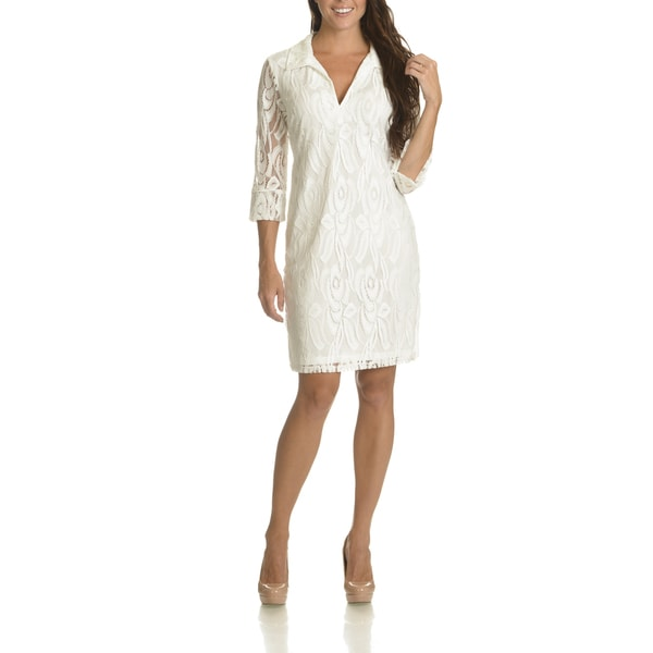 Danillo Boutique Women's Ivory 3/4 Sleeve All-Over Lace Dress