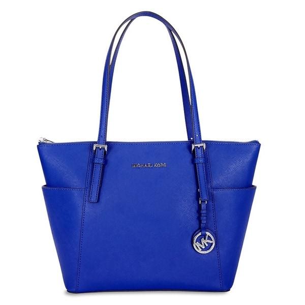 Michael Kors Jet Set Electric Blue Top-Zip Tote Bag