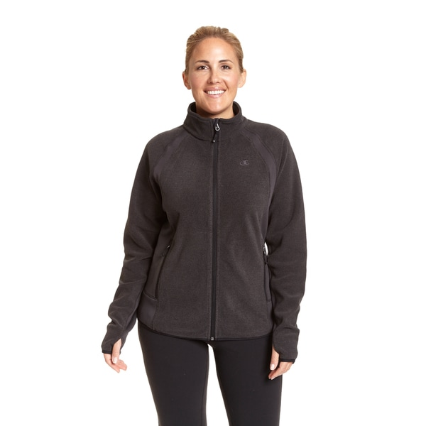 Champion Women's Plus-size Active Knit Textured Fleece Mock Neck Jacket 19980488