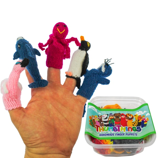 ThumbThings Handmade Finger Puppets, Set of 5: Flamingo, Dolphin, Octopus, Penguin, Walrus (Peru) 19980669