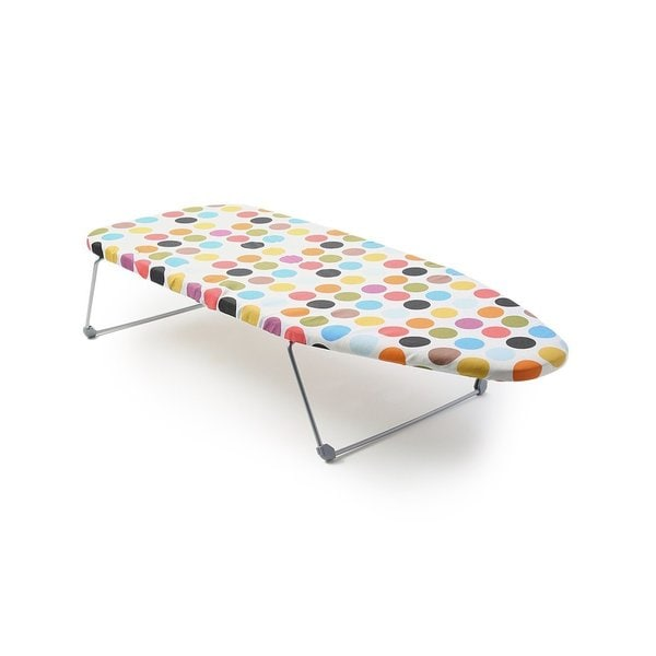 Perilla Mini Multicolored Fabric/Steel Portable Table Top Ironing Board with Folding Legs