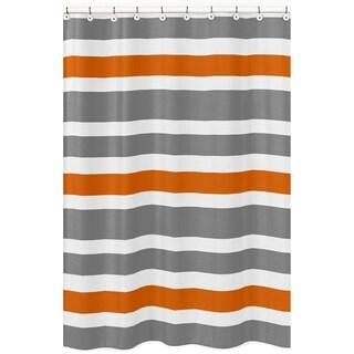 Gray and Orange Stripe Shower Curtain