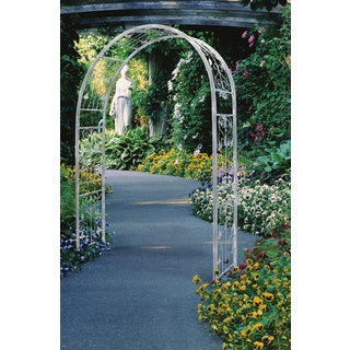 Austram 101102 60-inches Antique White Steel Vintage Arbor