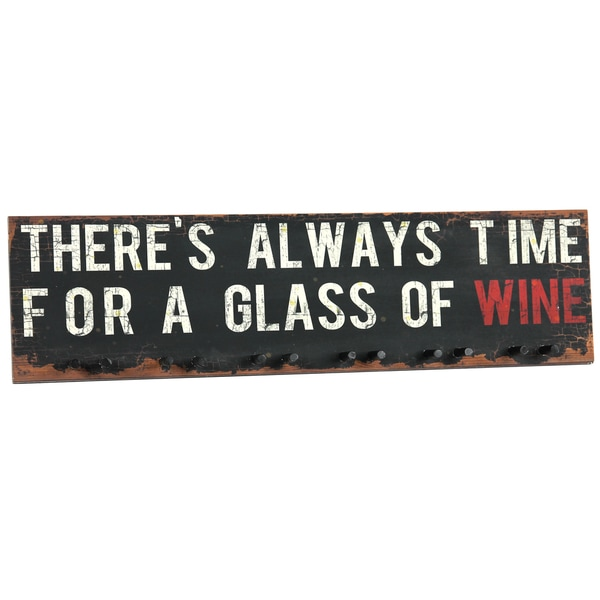River Cottage Gardens W21245-YGUPS Time For Wine Wood Plaque