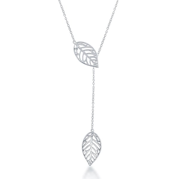 La Preciosa Sterling Silver Leaf with Hanging Chain Necklace