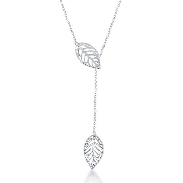 La Preciosa Sterling Silver Leaf with Hanging Chain Necklace