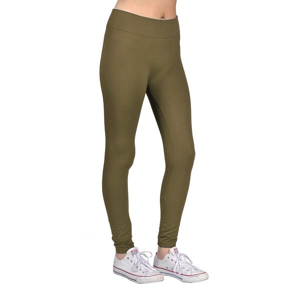 Women's Olive Spandex/Nylon Fashion Leggings