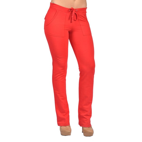 Womens Drawstring 4-pocket Orange Polyester/Spandex Pants