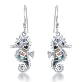 La Preciosa Sterling Silver Abalone Sea Horse Dangle Earrings