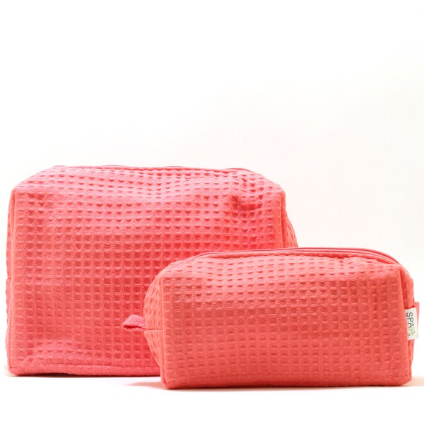 Pendergrass Spacific Waffle Coral Cosmetic Bag Set