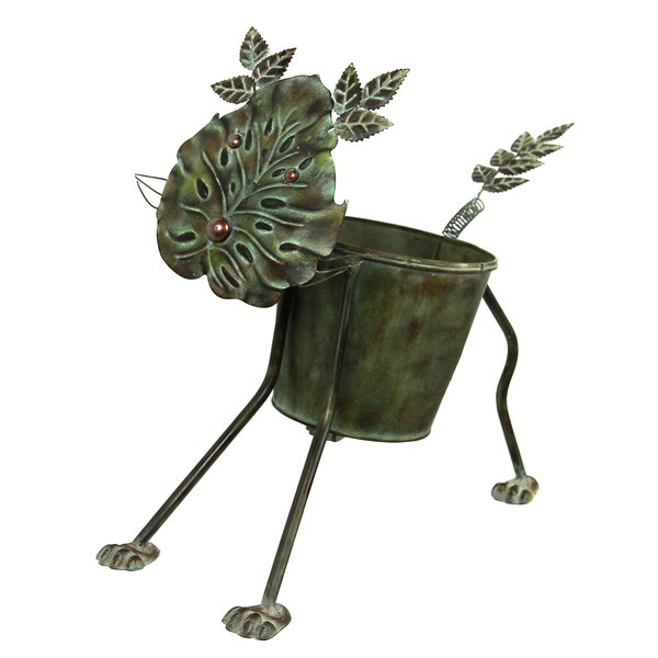 River Cottage Gardens R21346-YGUPS Cat Metal Planter Pot