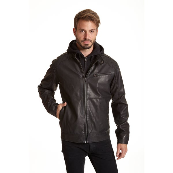Excelled Men's Faux Leather Jacket with Quilted Shoulder Detail