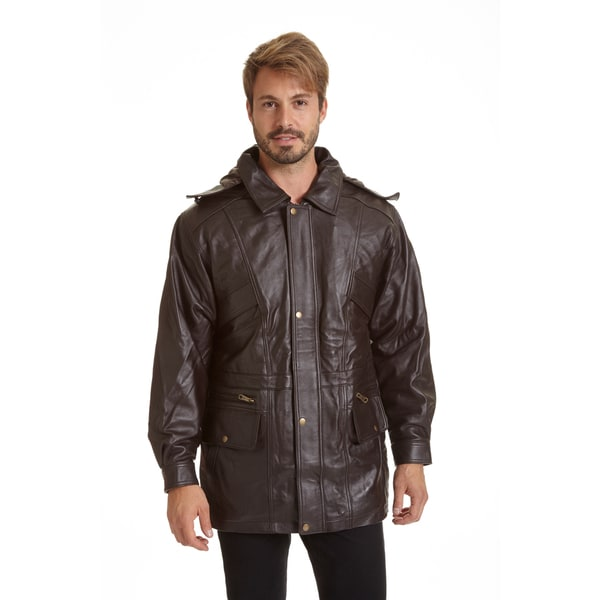 Excelled Men's Black Lambskin Parka