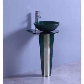 Legion Furniture 19.6-Inch Dark Green Glass Single Bathroom Vanity