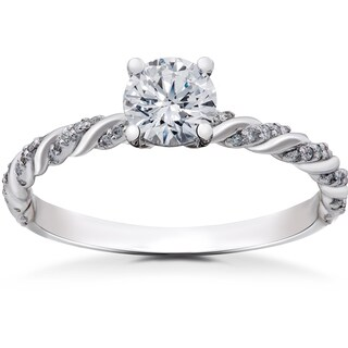 14k White Gold 5/8 ct Lab Grown Round Eco Friendly Diamond Engagement Ring (F-G, SI1-SI2)