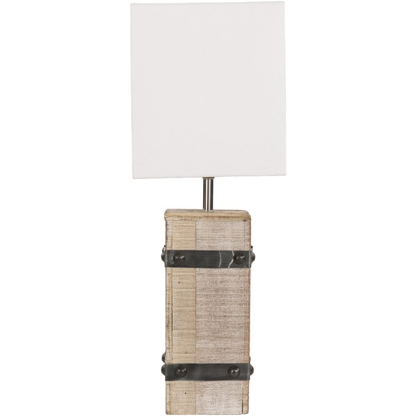 Rustic Opal Table Lamp with White Washed Wood/Metal Base