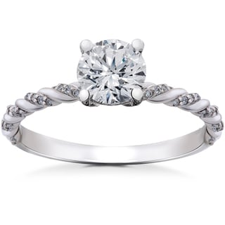 14k White Gold 7/8 ct Lab Grown Round Eco-Friendly Diamond Engagement Ring (F-G, SI1-SI2)