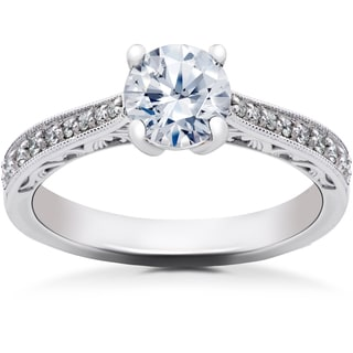 14k White Gold 1 1/6 ct Lab Grown Eco Friendly Diamond Vintage Engagement Ring (F-G, SI1-SI2)